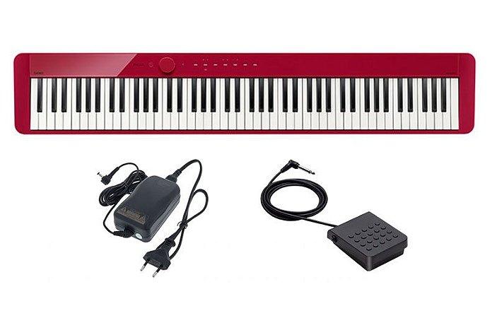 Piano Digital Casio Privia Px S1000 Vermelho c/Fonte + Pedal
