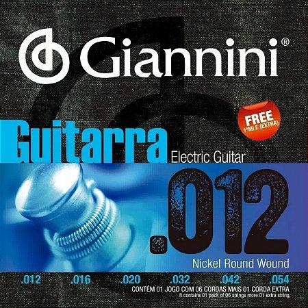 "ENCORDOAMENTO P/ GUITARRA GIANNINI GEEGST12 NIQUEL 0.012"""