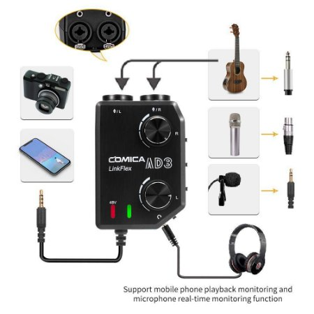 Interface Pré-amp Comica Linkflex Ad-3 P3 3,5mm P/smartphone