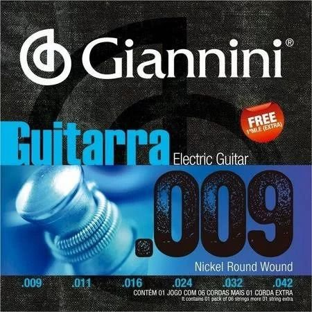 "ENCORDOAMENTO P/ GUITARRA GIANNINI GEEGST9 NIQUEL 0.009"""