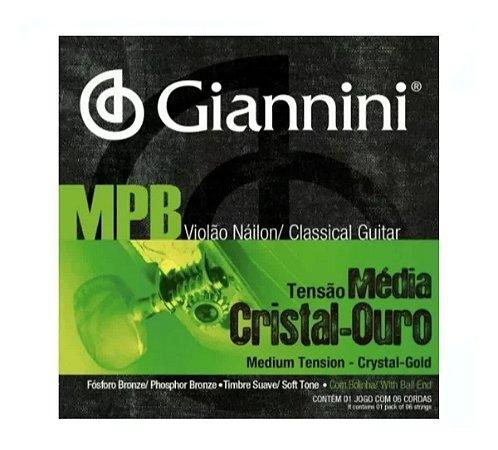 ENCORDOAMENTO P/ VIOLAO GIANNINI GENWG NAILON CRISTAL/OURO