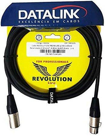 CABO DATALINK REVOLUTION PREMIUM p/ Microfone 0,30 mm 5m