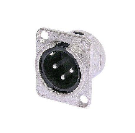 Conector Neutrik XLR Painel Macho 3 Polos Nickel NC3MD-L-1