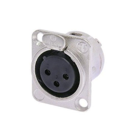 Conector Neutrik XLR Painel Femea 3 Polos c/ Trava NC3FDL1