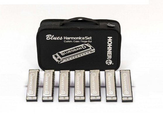 Kit De Gaitas Hohner Blues Band 7 Harmonicas Com Estojo