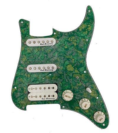 Escudo Condor Verde p/ Guitarra c/ Captador Branco HSS
