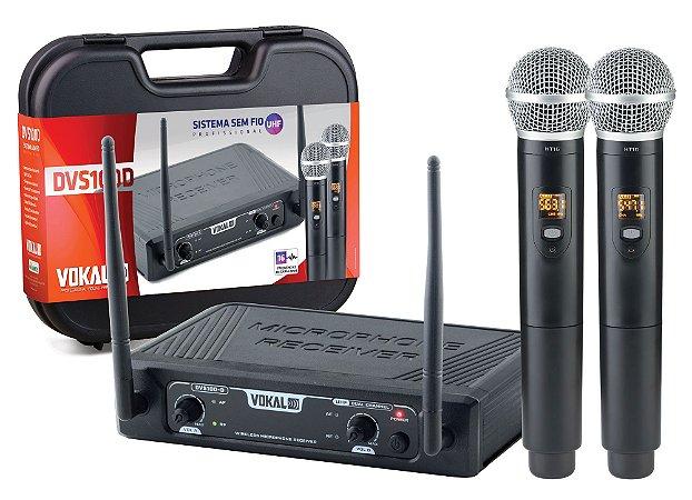 Microfone S/fio Vokal Dvs100dm Duplo Mao