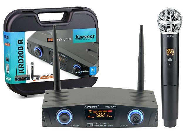 Microfone Karsect S/ Fio Krd200r Single Recarregável De Mão