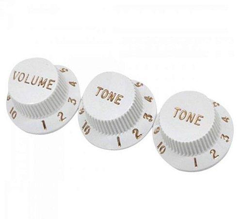 Knobs Fender Guitarra Stratocaster Branco 2 Tone 1 Volume
