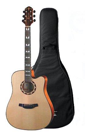 Violão Elétrico Crafter C/Tampo Sólido Hd520 Ce N Folk com Bag