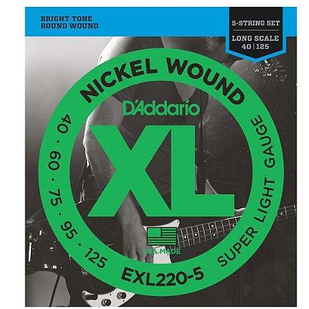 ENCORDOAMENTO CORDA DADDARIO Baixo 5 Cordas Exl220 5 0.40