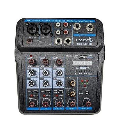 Mesa De Som Lyco Bluetooth 4 Canais Phantom Power LMR-0401UB