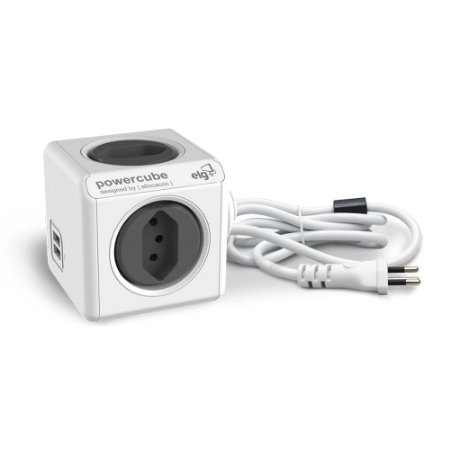 Adaptador Múltiplo 4 Tomadas Bivolt e 2 USB com Cabo 1,5m - PowerCube EXTENDED USB - PWC-X4U Cinza
