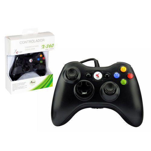 Controle Xbox360 Com Fio Joystick Preto Kp-5121A