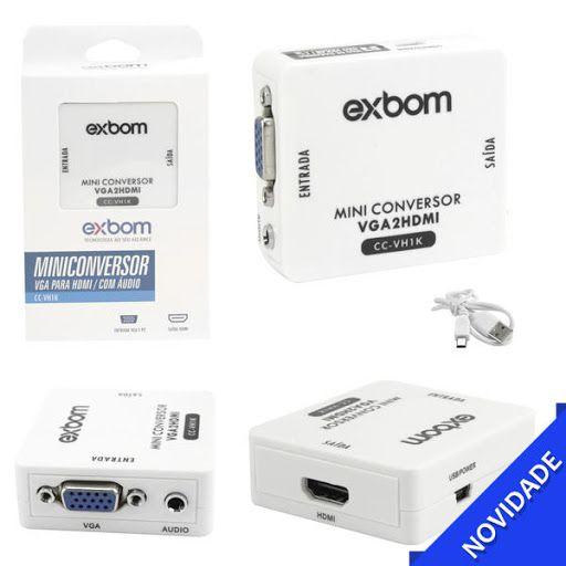 Conversor VGA Para HDMI Com Saída De Áudio CC-VH1K EXBOM