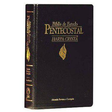 Bíblia de Estudo Pentecostal com Harpa - Média - cor preta