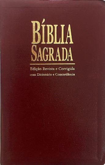 Bíblia Sagrada com Dicionário e Concordância - ICM - Ed. Revista e Corrigida - Capa Vinho