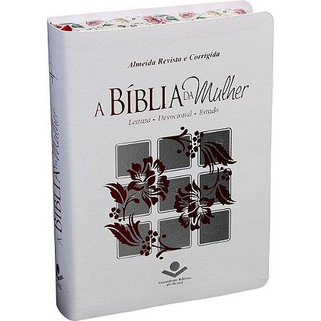 BÍBLIA DE ESTUDO DA MULHER - BRANCA - BEIRAS FLORIDAS