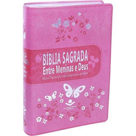 Bíblia Sagrada entre Meninas e Deus - Capa Rosa