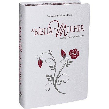 Bíblia da Mulher com Borda Florida - Branca e Flor - RA