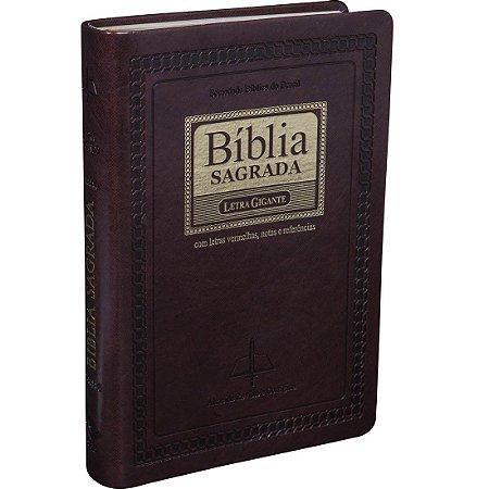 Bíblia Sagrada Letra Gigante Com Índice - Marrom
