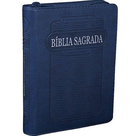Bíblia Sagrada Letra Grande Com Índice e Zíper - Azul
