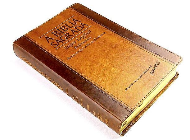 Bíblia ACF Super Legível com Referencias. - Chocolate / Havana c/ Índice