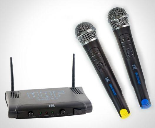 MICROFONE SEM FIO DUPLO EM UHF (TSI MS215-UHF)