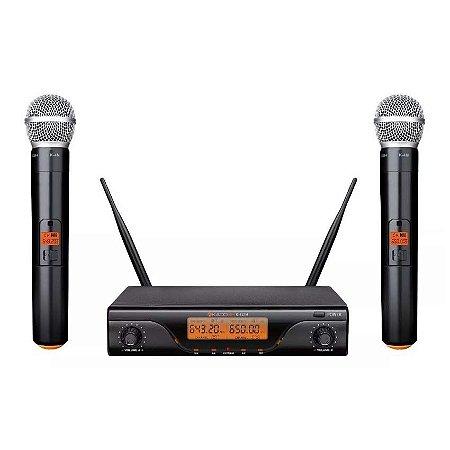 Microfone sem Fio K-412M UHF Duplo Vocal - KADOSH