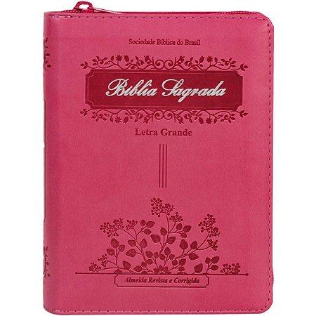 Bíblia Sagrada - Letra Grande capa rosa