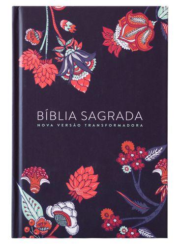 BÍBLIA NVT - INDIAN FLOWERS AZUL MARINHO (CAPA DURA - LETRA GRANDE )