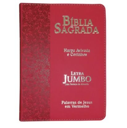 BÍBLIA SAGRADA | LETRA JUMBO | CAPA PU ZIPER | RAMOS VERMELHA