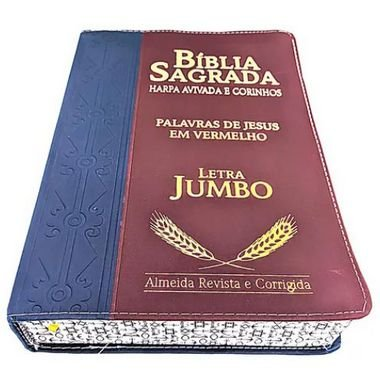 Bíblia Letra Jumbo Com Harpa Marrom E Azul Luxo