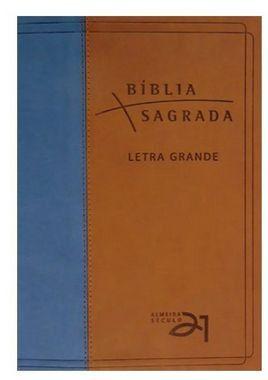 Bíblia Almeida Século 21 Letra grande luxo - marrom e azul