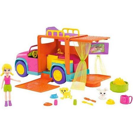 Mini Boneca - Polly Pocket - Polly Com Veículo - Carro De Acampamento - Mattel