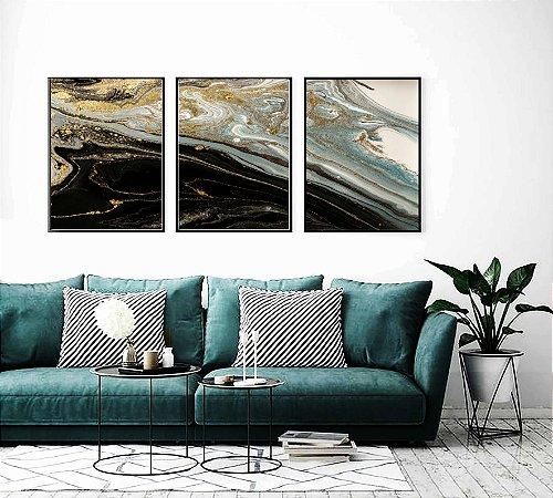 Quadros abstratos trio mármore azul e preto impressão em canvas com moldura preta