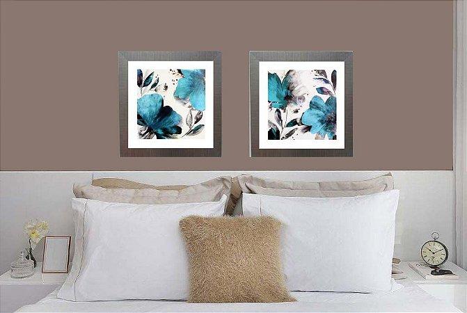 Par de quadros flores azul