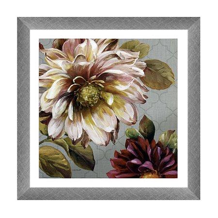 Quadro flores fundo cinza 2