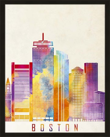 Quadro cidade colorida Boston