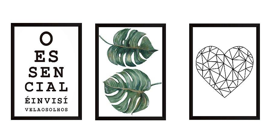 Quadros composição 3 peças medida 33 x 43 cada