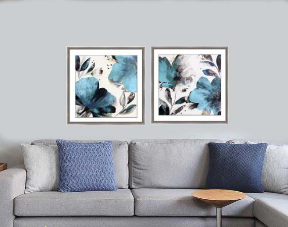 Quadros flores azuis moldura chanfrada 58 cm x 58 cm