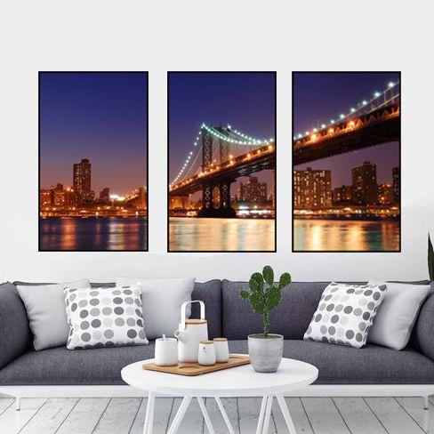 Quadros New York 3 em 1 (53 L x 83 A cm cada peça)
