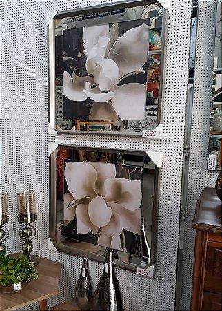 Flores sépia margem de espelho moldura em madeira chanfrada  tipo aço inox