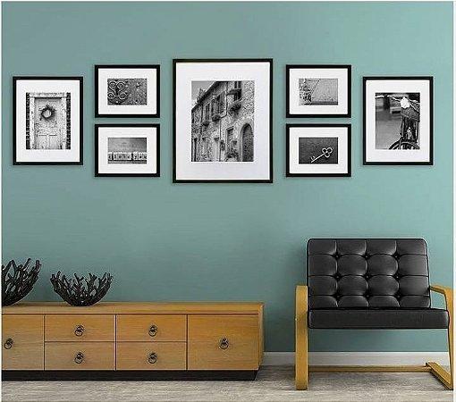 Portas retratos de parede composição 7 quadros