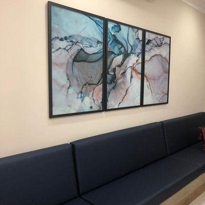 Quadros composição Abstratos mármore azul 3 peças 60 x 90 cm cada