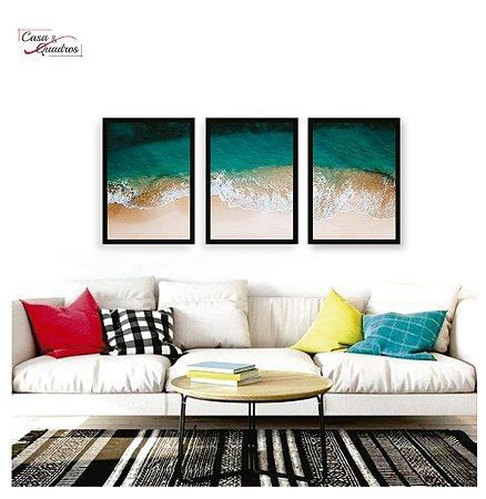 Quadros paisagem mar composição 3 peças com moldura em madeira na cor preta