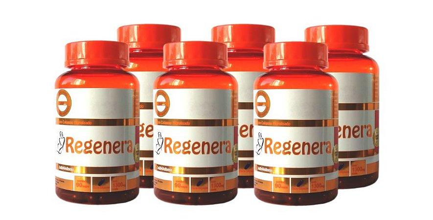 Regenera Colágeno Hidrolisado - 6 Frascos com 90 Cápsulas, Cada cápsula contém 1300 mg