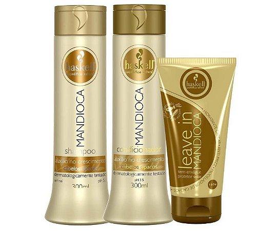 Haskell Shampoo Mandioca + Condicionador Mandioca 300ml + Leave - in Mandioca 150g