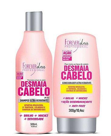 Kit Desmaia Cabelo Forever Liss Shampoo 500ml E Condicionador Ultra Hidratante 300g