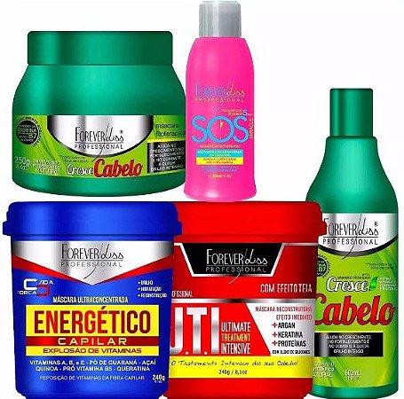 Forever Liss Kit Cresce Cabelo 250g Shampoo Uti Energetico Sos